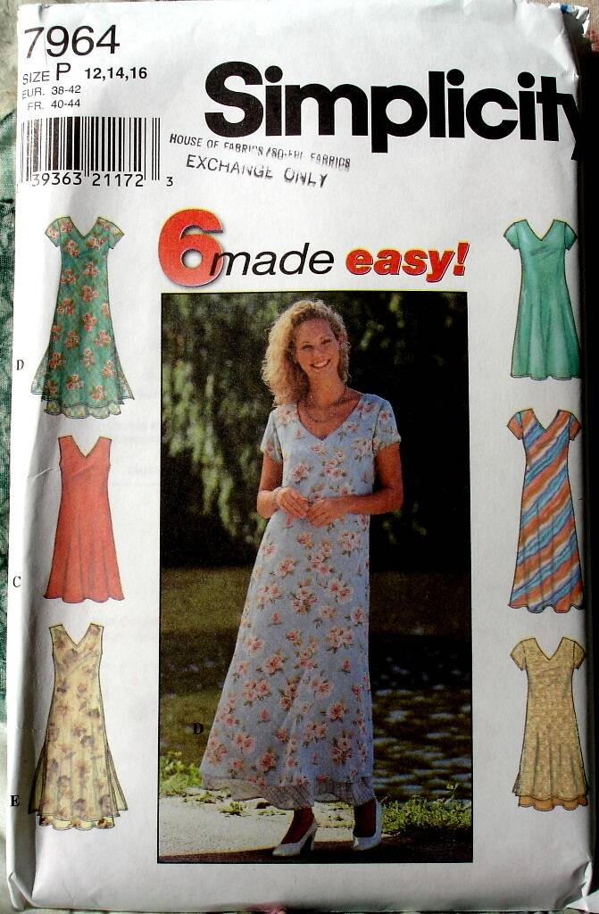 Simplicity 7964 Pullover Flared V Neck Dress In Two Lengths Size P (12-16)