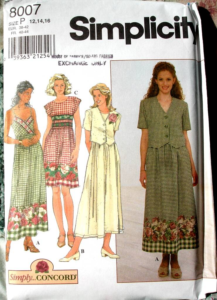Simplicity 8007 Misses Dress With Full Skirt And Short Jacket Size P (12-14-16)