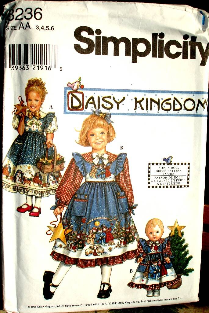 """Simplicity 8236 Girls Dress And Pinafore and Doll Dress for 18"""" Doll by Daisy Kingdom"""