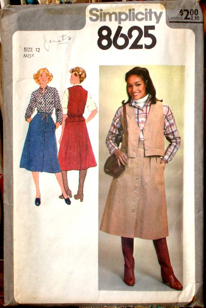 Simplcity 8625 Misses Skirt Blouse And Unlined Vest Pattern Size 12