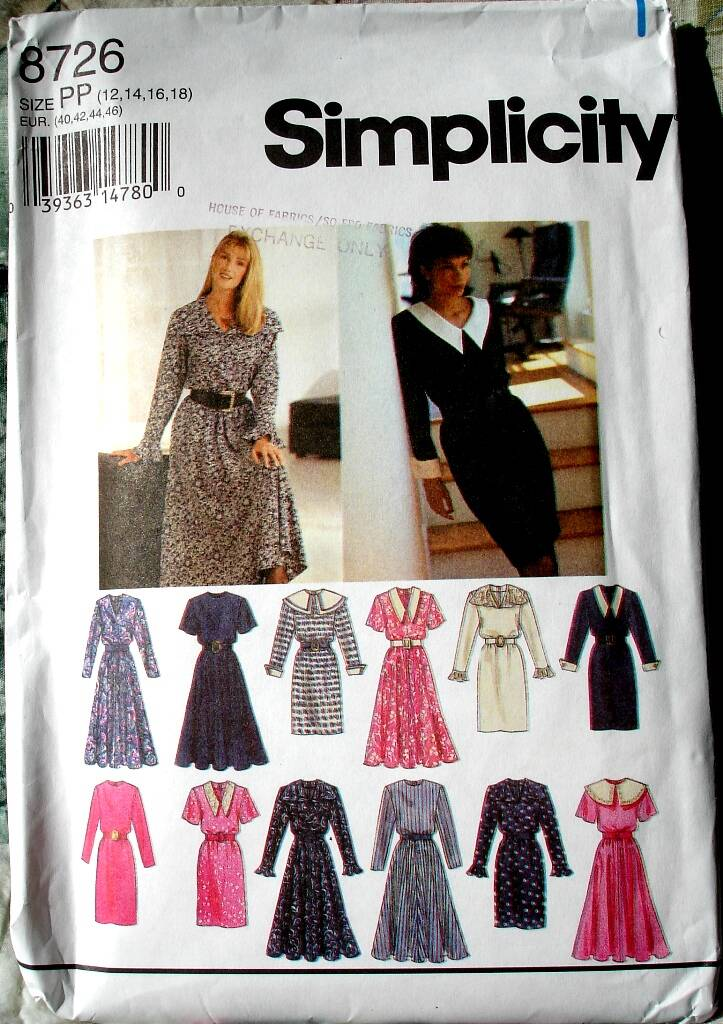 Simplicity 8726 Dress With Neckline Variations Slim Or Flared Skirt Size PP (12-14-16-18)