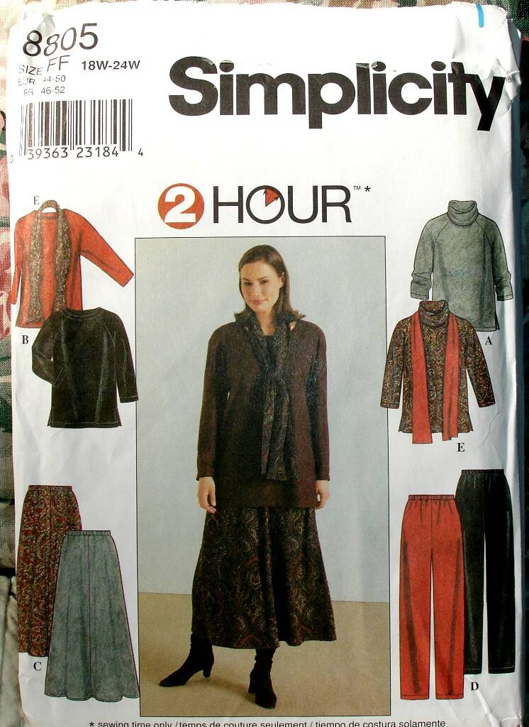 Simplicity 8805 Women's Top Skirt Pants And Scarf Pattern Size FF (18W-24W)