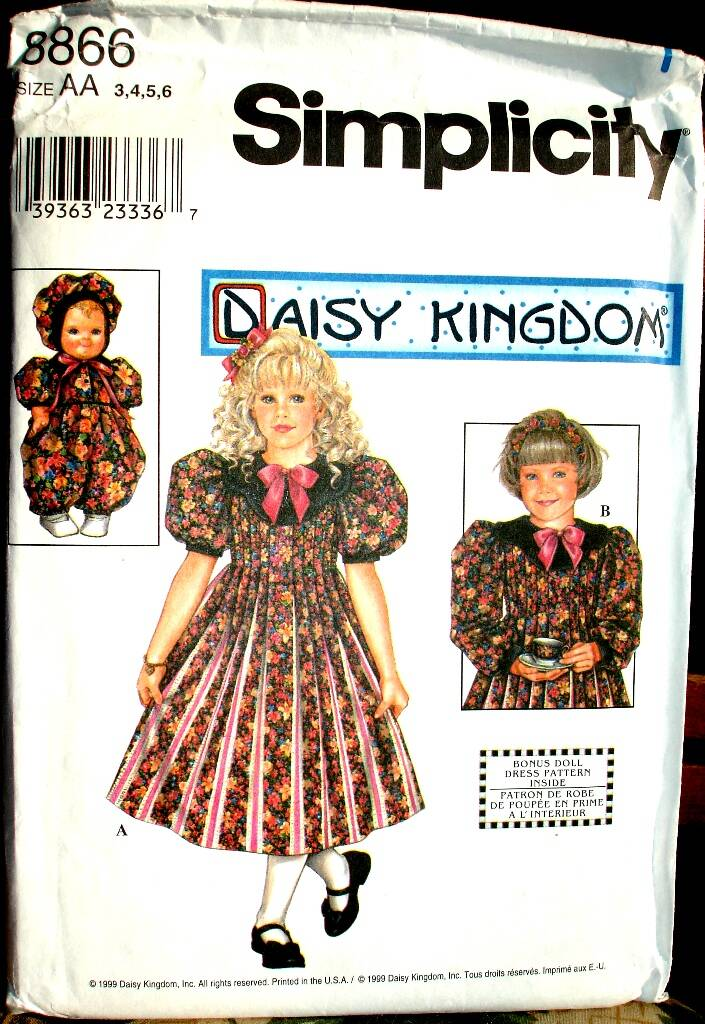 """Simplicity 8866 Daisy Kingdom Girls Dress And Clothes For 13"""" Doll Size AA (3-4-5-6)"""