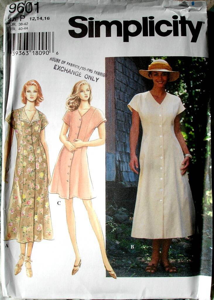 Simplicity 9601 Misses Button Front Flared Princess Seamed V Neck Dress  Size P (12-14-16)