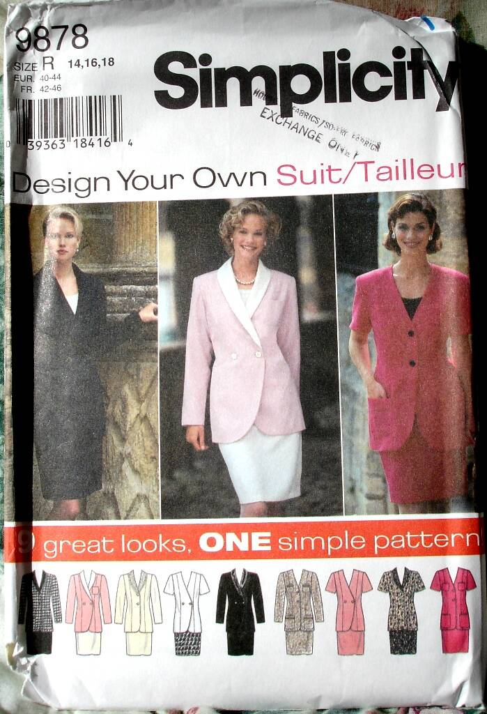 Simplicity 9878 Fitted Princess Seamed Jacket And Slim Skirt Size R (14-16-18)