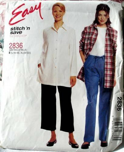 Stitch N Save 2836 Petite Shirt And Pull On Pants In Two Lengths Size B (16-22)