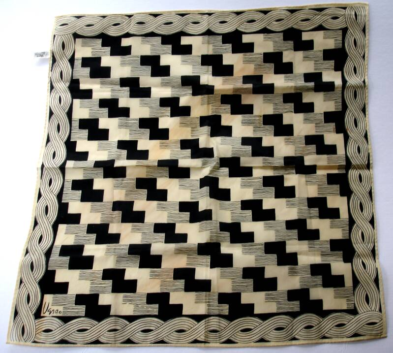 Vera Scarf In Geometric Brown And Black Basketweave Design From The 1970s