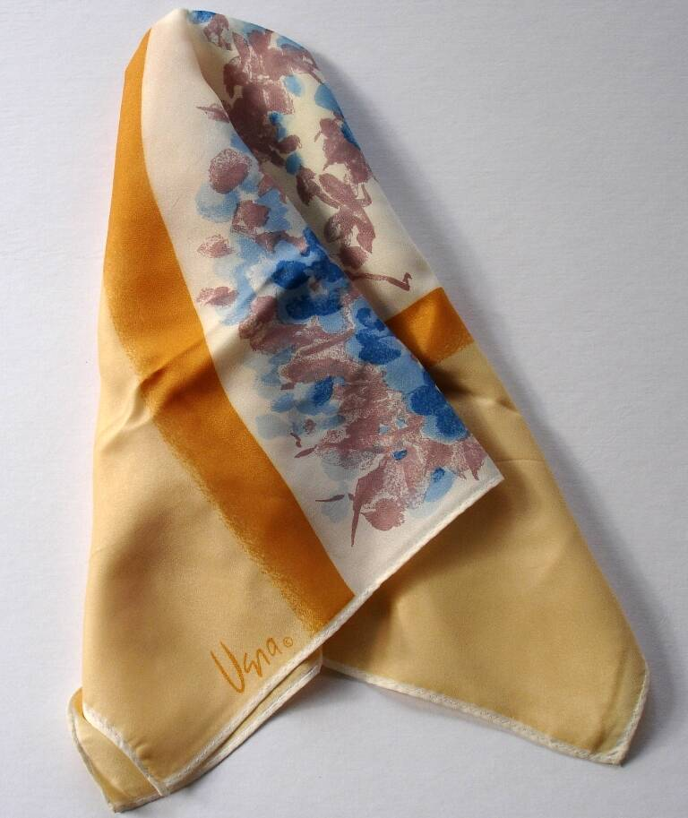 Vera Neumann Yellow And Gold With Blue Floral Arch Scarf Vintage 1970s