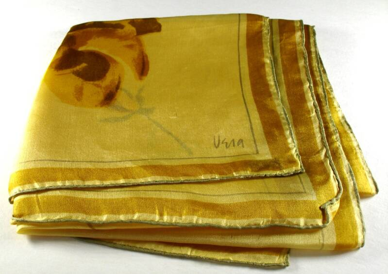 Vera Neumann Yellow Gold And Brown Roses Floral Ladybug Scarf, Vintage Early 1950s