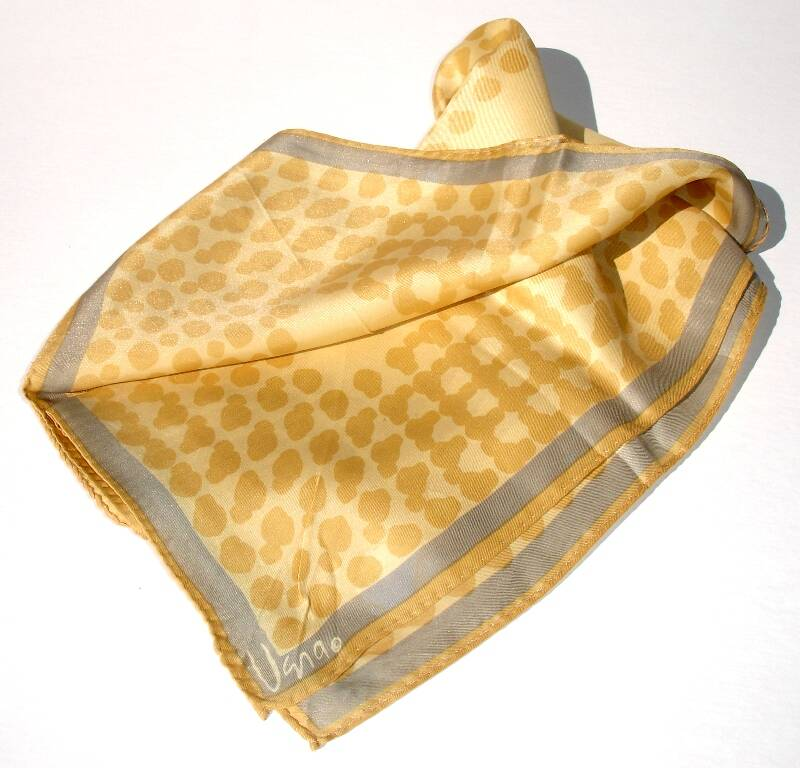 Vera Neumann Gray And Shades Of Gold Vintage Scarf