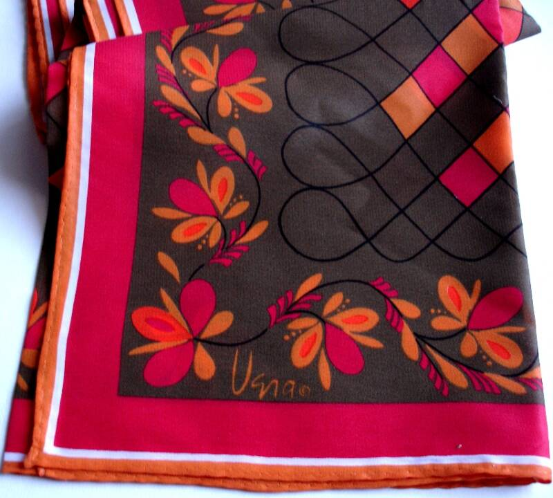 Vera Floral Geometric Design Scarf In Red Orange Gold And Olive Green