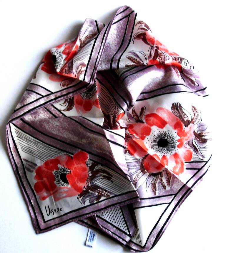 Vera Scarf With Red Orange Poppies And Black Accents On Lattice