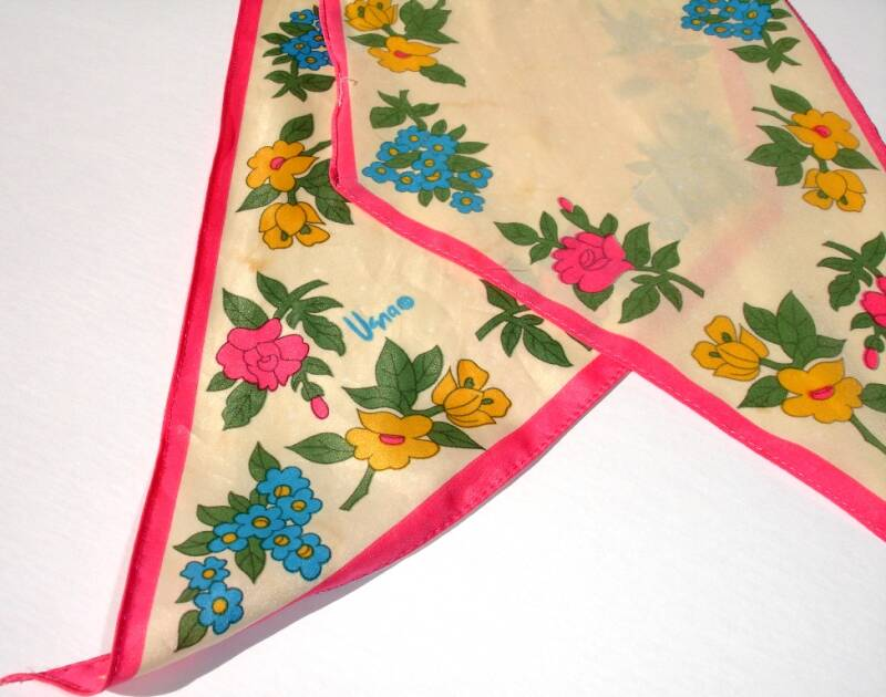 Vera Neumann Pink Blue Yellow Floral Pointed Ends Vintage Scarf