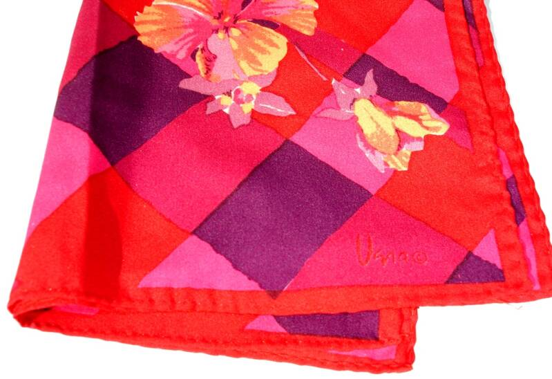 Vera Neumann Purple Pink Red Stripes With Hibiscus Flowers Scarf