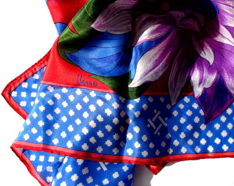 Vera Dahlia And Lilies Scarf In A Bold Red White Blue Pink And Purple