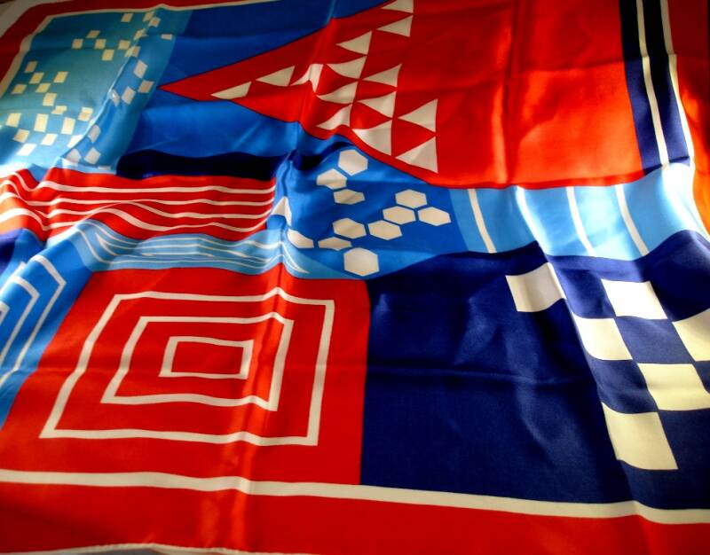 Red White And Blue Geometric Design Vera Neumann Scarf With Ladybug