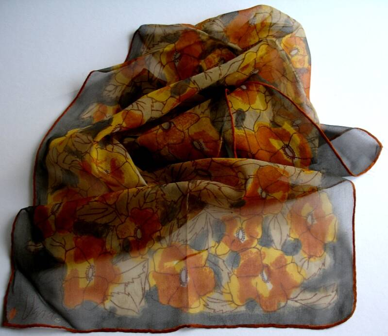 Vera Neumann Gray Rust Gold And Brown Stylized Pansies Ladybug Scarf