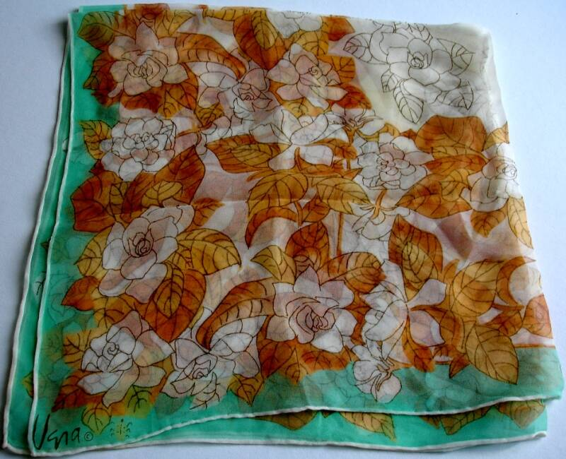Vera Neumann White Roses With Rust Brown Leaves On Green Ladybug Scarf
