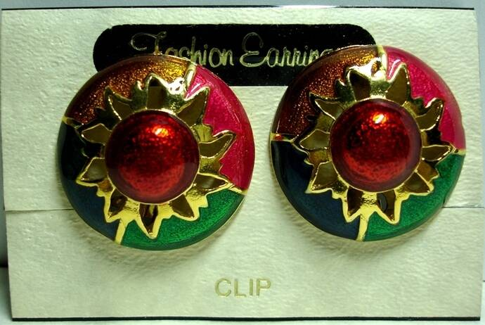 Vintage Red Hot Sunset Domed Clip On Earrings NOS