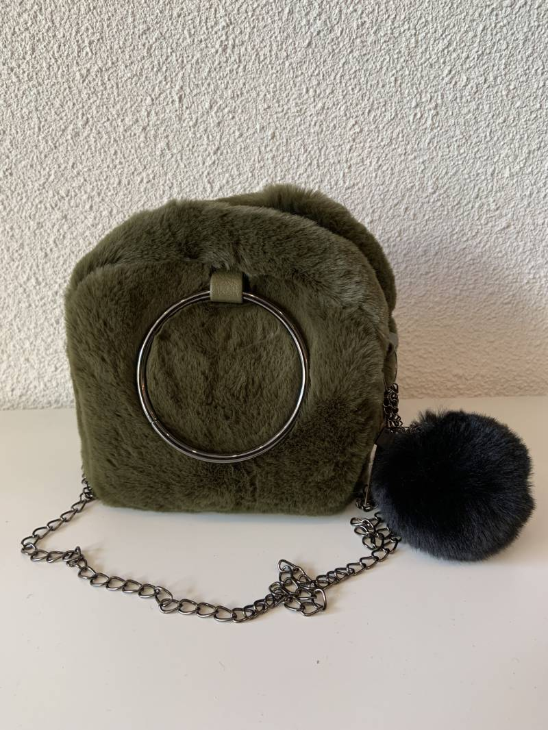Olive Green fluffy Bag