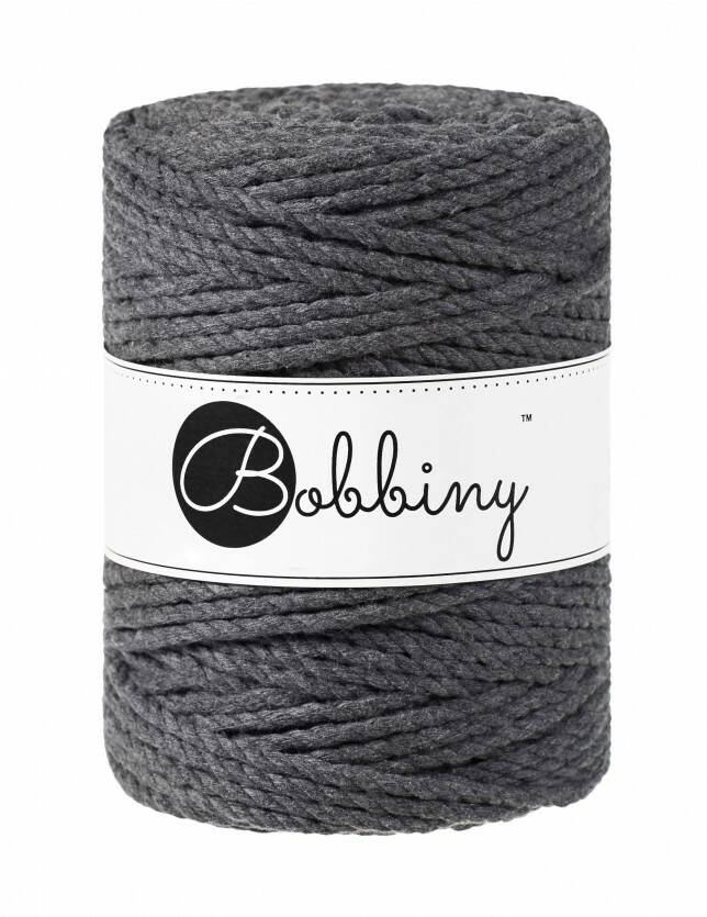 Bobbiny macramé triple twist  | 5mm | Charcoal