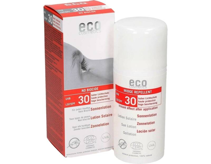 Eco Cosmetics zonnebrand lotion no biocide anti-muggen SPF30