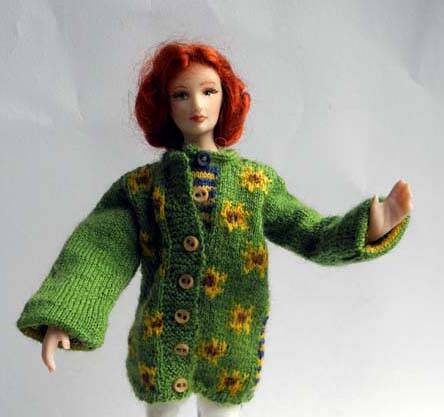 Damesjas met zonnebloemen - Ladies coat with sunflowers -