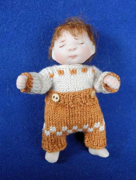 Baby knooppakje, bruin - Baby suit with buttons, brown