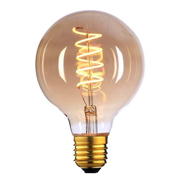 Globe filament LED spiraal lamp 9,5 cm goud amber E27 LED 4W (vervangt 25 watt)