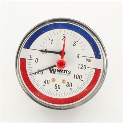 """(0332004) ACC Watts Thermo/manometer 80mm 0-4bar 0-120C 1/2""""axiaal"""