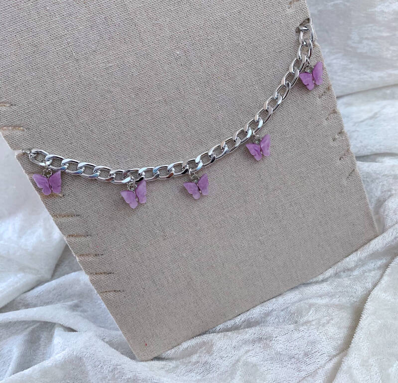 Butterfly chain zilver lilac