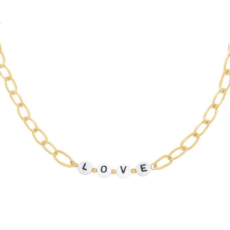 Ketting Love beads goud