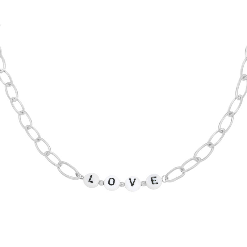 Ketting Love beads zilver