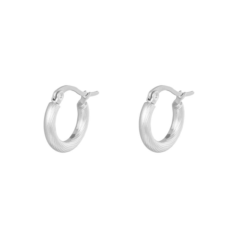 Oorbellen Hoops Twisted 15 mm zilver