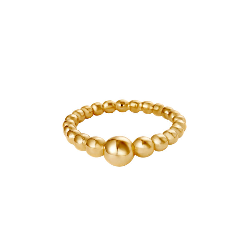 Ring Steel Pearls goud