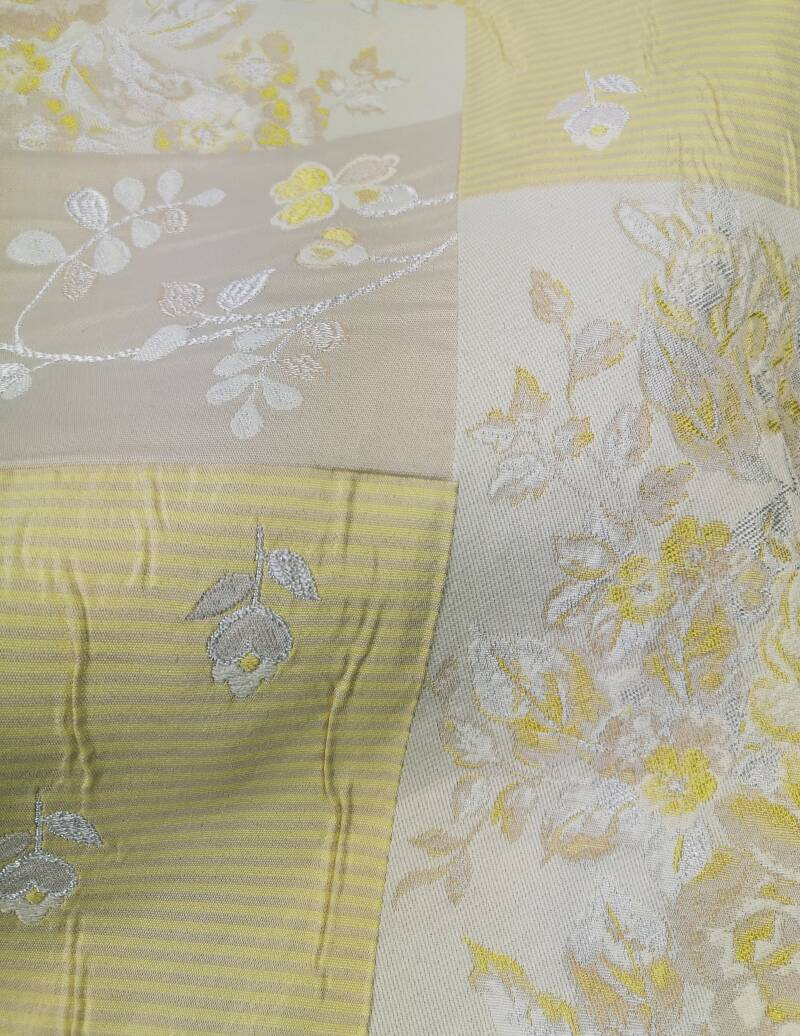 Yellow Floral Patchwork Brocade