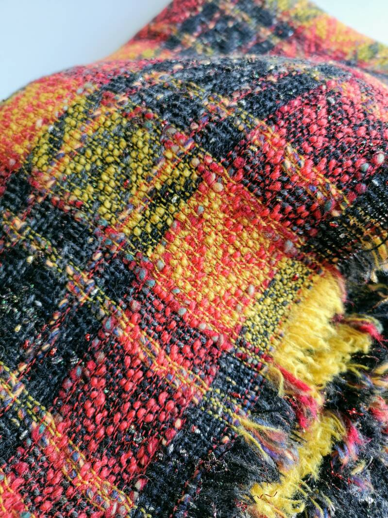 Red Yellow Black & Shiny Fancy Check Fabric