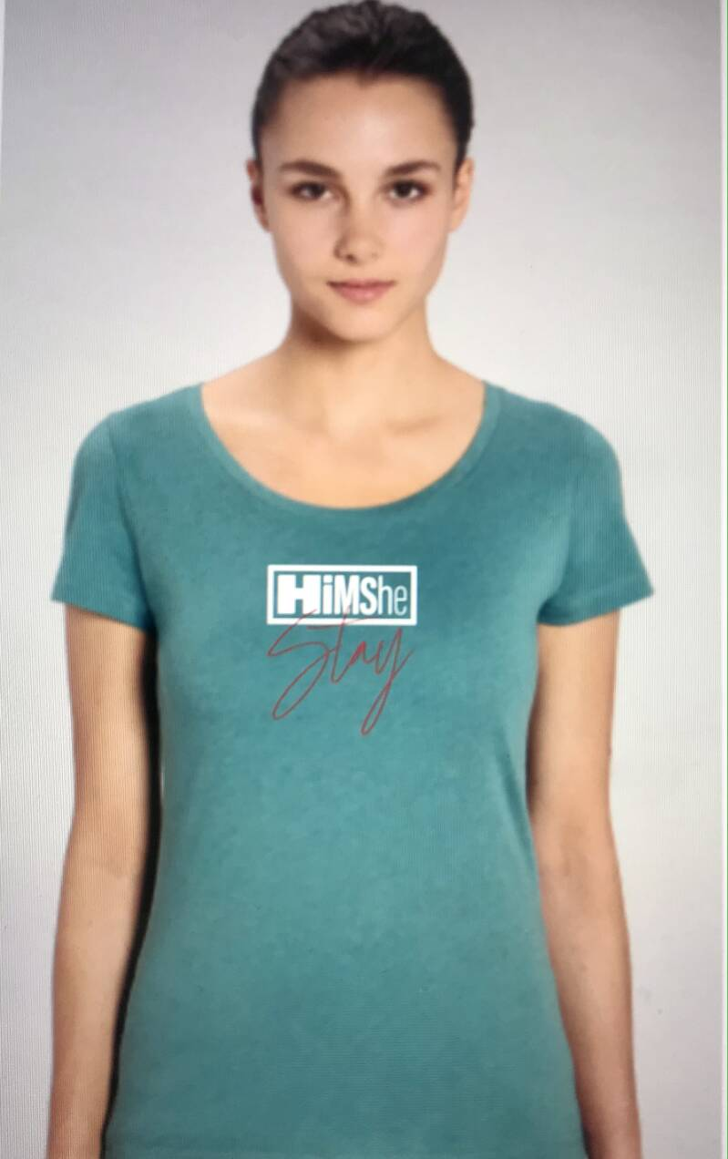 T-shirt HIMSHE women ROUND neck HEATHER EUCALYPTUS size SMALL