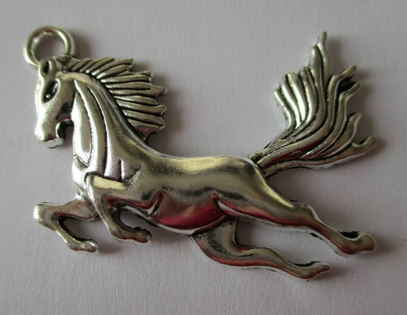 Zilverplated paarden bedel 50x39mm 90892