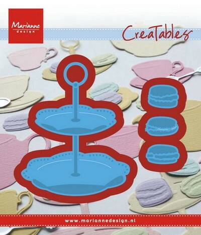 Creatables stencil tiered tray and macarons - LR0463