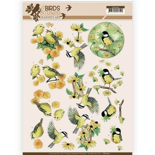 Jeanine`s Art - Birds and Flowers - Yellow birds  CD11220