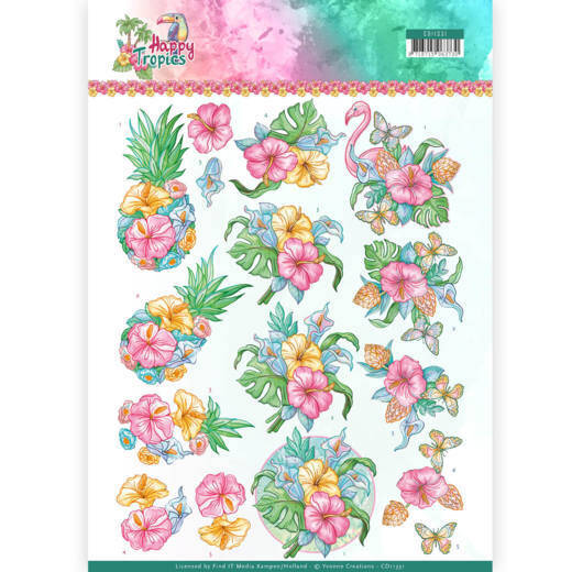 3D Knipvel - Yvonne Creations - Tropical Flowers  CD11331