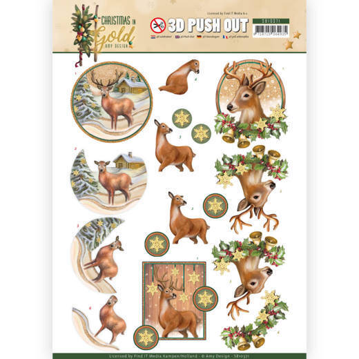 3D Pushout - Amy Design - Christmas in Gold - Deers in Gold  SB10371