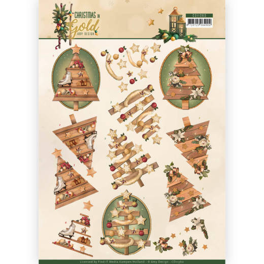 3D Knipvel - Amy Design - Christmas in Gold - Trees in Gold  CD11360