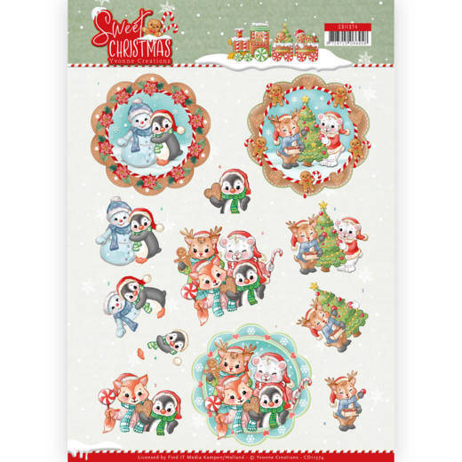 3D Knipvel - Yvonne Creations - Sweet Christmas - Sweet Winter Animals - CD11374