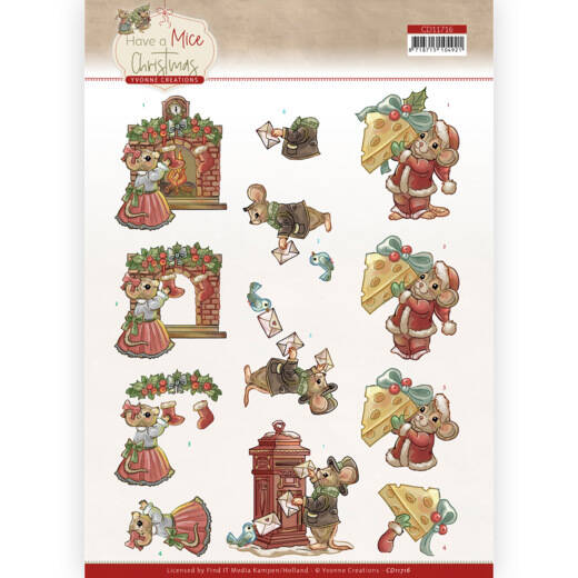 Yvonne Creations - Have a Mice Christmas - Sending Christmas Cards  CD11716