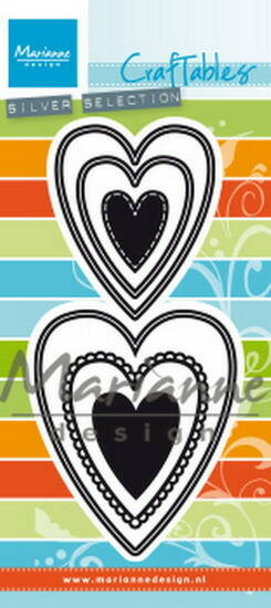 Craftables stencil punch die nest hearts (M) - CR1461