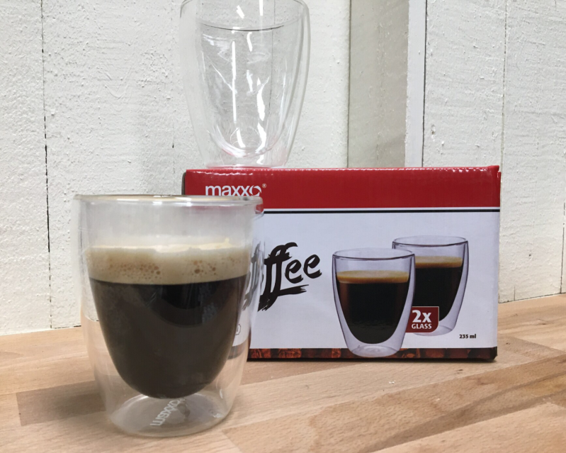 Maxxo Coffee 235ml, Thermo glas, set van 2