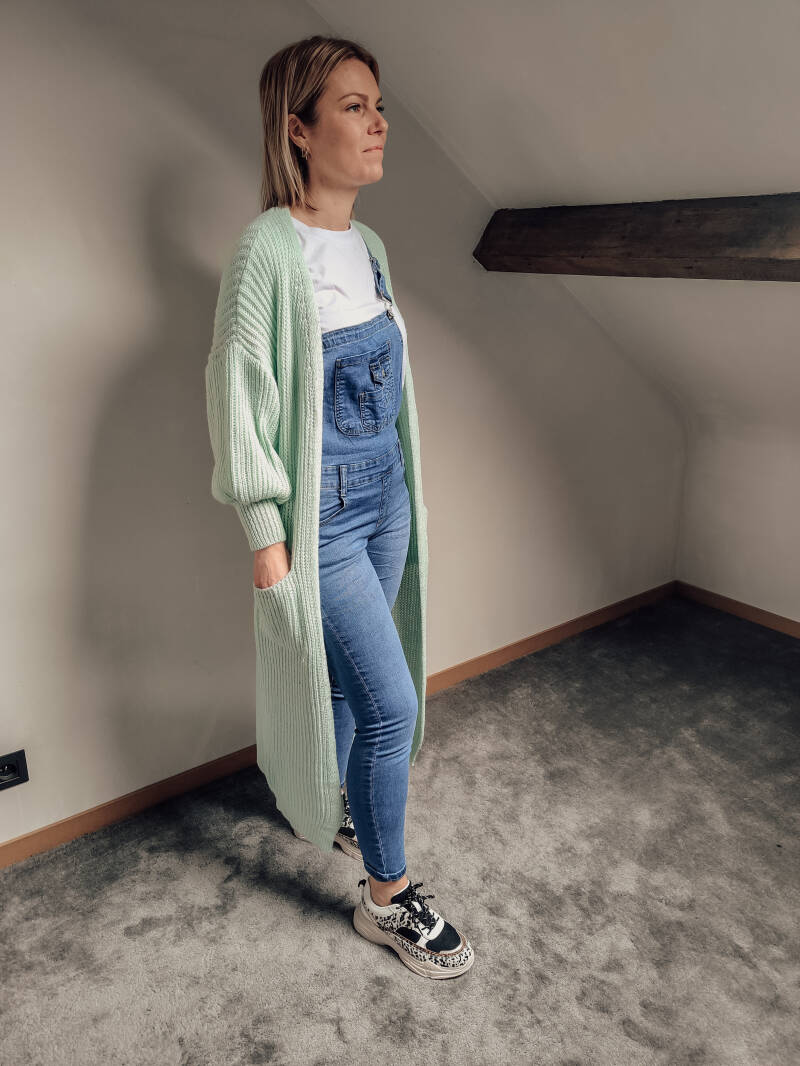 Long Knitted Cardigan Mint