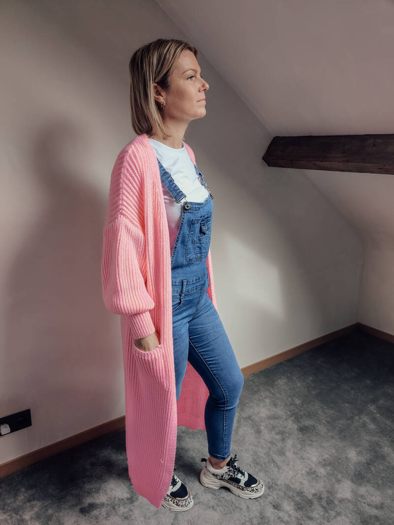 Long Knitted Cardigan Pink